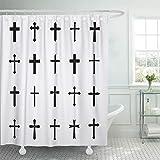 Ashleyallen shower curtain Cross Black Crosses White of Christian and Catholic Gothic shower curtain 60 x 72 Inches shower curtain with plastic Hooks