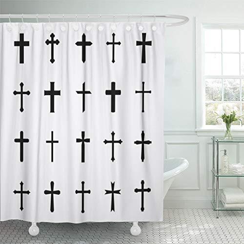 Ashleyallen shower curtain Cross Black Crosses White of Christian and Catholic Gothic shower curtain 60 x 72 Inches shower curtain with plastic Hooks by Ashleyallen