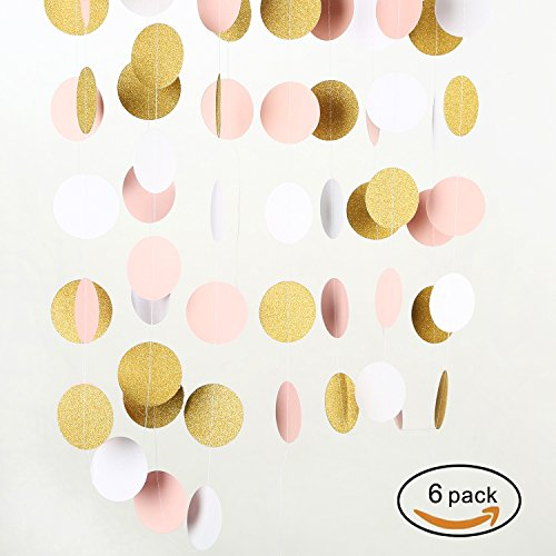 MOWO-Paper-Garland-Gold-Glitter-Pink-White-2-Circle-Dots-Decoration-6pc-60feet-in-Total
