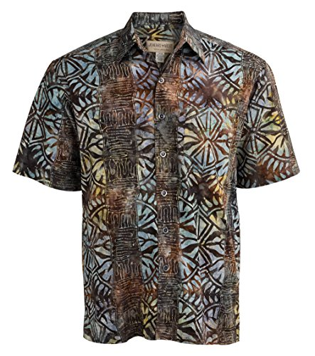 Johari West Geometric Forest Tropical Hawaiian Batik Shirt by (Small, Brown) ()