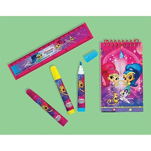 Nickelodeon Shimmer & Shine 5 Piece Mini Stationery Set - Ruler, Markers, Spiral Notepad