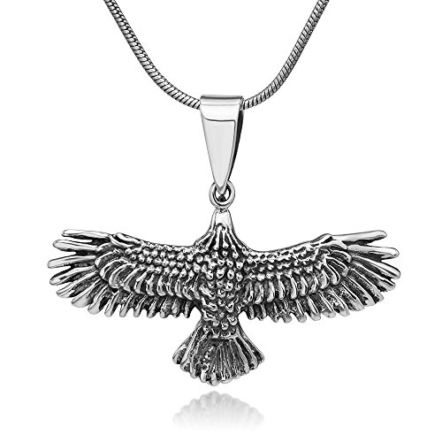 (Chuvora 925 Oxidized Sterling Silver Flying Eagle Hawk Skyhawk Bird Tribal Biker Pendant Necklace 18)