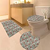 Anhuthree Doodle Bath Toilet mat Set Cute Kittens with Flowers Sketch Style Illustration Childish Baby Kids Nursery Theme Elongated Toilet Lid Cover Set Multicolor
