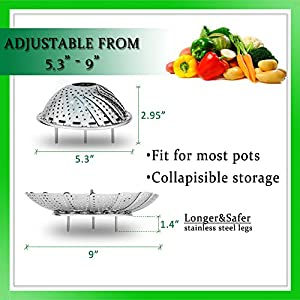AMFOCUS Kitchen Vegetable Steamer Basket Gadget