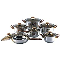 Chef 12 piece Stainless Steel Home Kitchen Covered Cookware Set, Dishwasher Safe, Dutch Oven