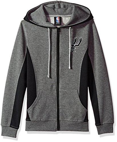 NBA Women's San Antonio Spurs Full Zip Hoodie Sweatshirt Jacket Dime, X-Large, Gray