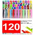 Laneco 120 Coloring Gel Pens Set Including 60 Colored Gel Pens Plus 60 Ink Refills, Perfect for Adults Coloring Book, Artist, School, Drawing, Writing by Laneco
