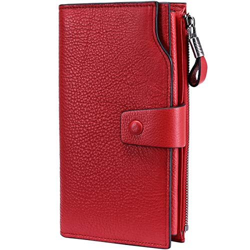 Itslife Women's RFID Blocking Large Capacity Luxury Wax Genuine Leather Cluth Wallet Card Holder Ladies Purse (Natural Red RFID -