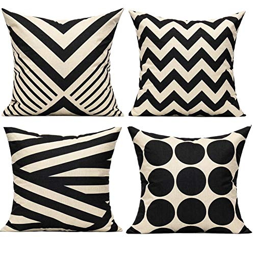 All Smiles Black Beige Boho Throw Pillow Covers Cases 18×18 Set of 4 Mid Century Stripes Decorative Outdoor Accent…