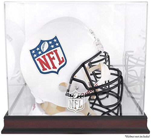 Sports Memorabilia NFL Mahogany Helmet Logo Display Case with Mirror Back - Football Helmet Logo Display Cases