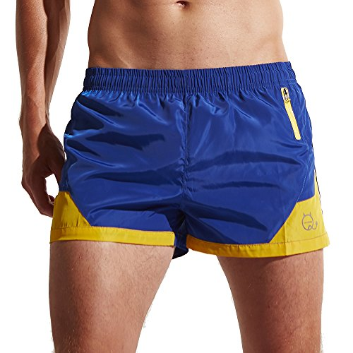 Funycell Men's Shorts Swim Trunks with Zipper Pockets Blue US M