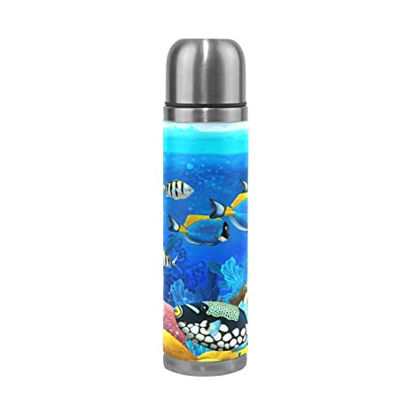 17 Oz Stunner Acean Water Bottle Sports Travel Thermos Mug Stainless Steel PU Leather Double Wall