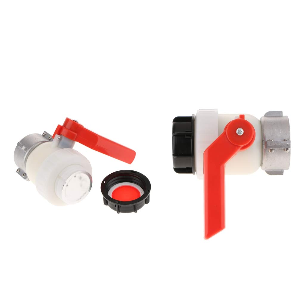 Flameer 1000L IBC Tote Tank Hose Fittings Adapter with Switch 2.44'' to 2'' (Pack of 2)