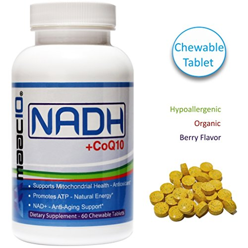 MAAC10 - NADH + CoQ10 Supplement For Fatigue, Energy, Mental Focus & NAD+ Support, 50mg PANMOL NADH + 100mg CoQ10 (60 Tasty Chewable Tablets 2 per Serving). by MAAC10 Formulas