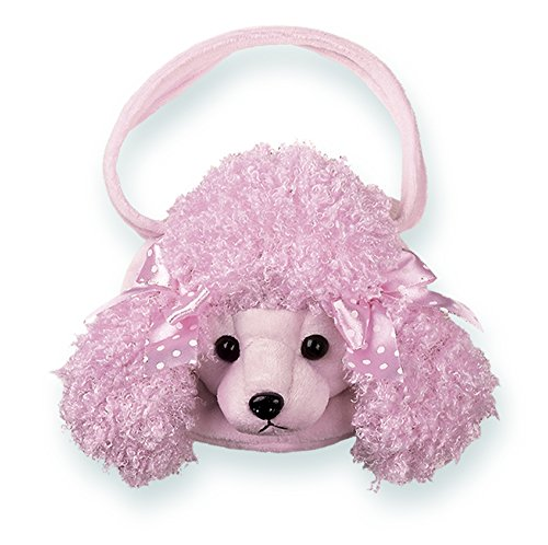 (Bearington Frenchy Carrysome, Girls Plush Pink Poodle Stuffed Animal Purse, Handbag 7 inches)