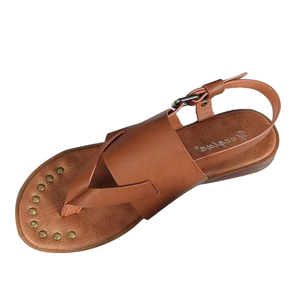 Fastbot Women's Summer Sandals Open Toe Casual Comfort Fashion Flat Buckle Retro Roman Flip Flops Shoes Brown