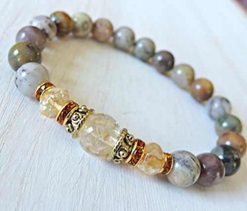 Citrine Agate - Citrine & Moss Agate bracelet, Energy Mala, Reiki Charged - Success - New beginnings - Gemstone bracelet