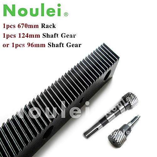 (Fevas 1.25 Modulus helical Teeth Gear Rack Steel 670mm with Gear Shaft/Pinion 1 Set high Precision for CNC Router Parts - (Number of Teeth: 670mm Rack and 96mm))