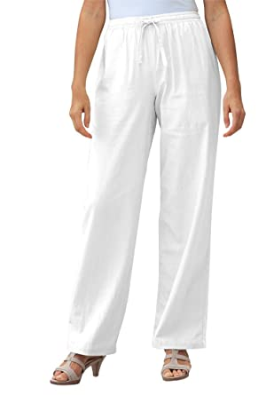 Women's Plus Size Tall Pants In Cool Linen Blend White, 12 T at ...