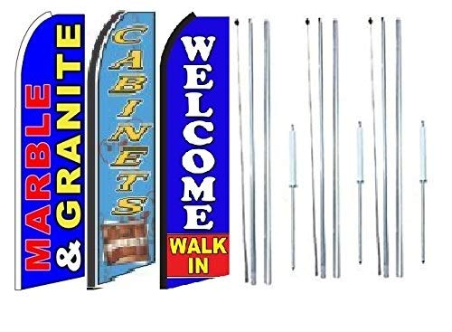 Pack of 3 Marble /& Granite cabinets Welcome Walk in King Swooper Feather Flag Sign Kit with Complete Hybrid Pole Set