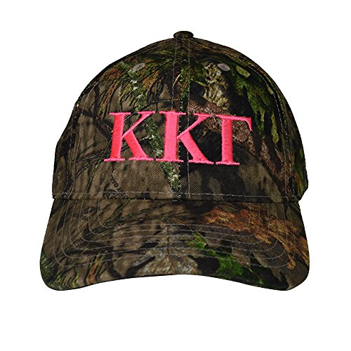Kappa Kappa Gamma Sorority Pink Letter Design Woods Mossy Oak Camouflage Hat Cap with Pink Thread Baseball Hat Camo KKG (Camo Beanie Dodge Ram)