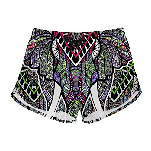 (FOR U DESIGNS Women's Board Shorts Quick Dry Swim Shorts Retro Tribal Elephant Print Beach Boardshorts S)