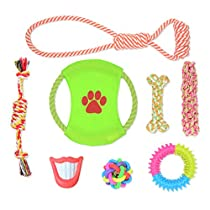 Pet Rope Toys - Dog Toy for Large & Medium & Small Dogs -Rubber and Squeaky Pet Toy, Indoor and Outdoor Dog Toys , Healthy Teeth Clean Dog Chew Toys (8 PCS)