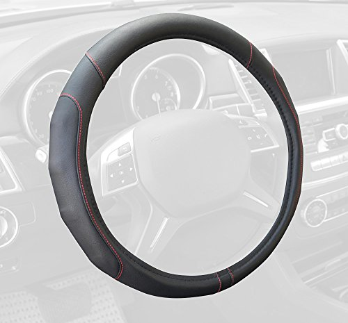 Motor Trend GripDrive Synthetic Leather Auto Car Steering Wheel Cover Black w/ Red Accent Stitching Comfort Grip - Standard 15 inch
