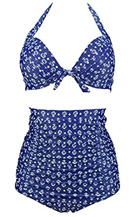 COCOSHIP Blue & White Spray Anchor 50s/80s Retro Tie Front Floral Top Halter High Waist Bikini Set Ruched Bathing Swimsuit S(FBA)