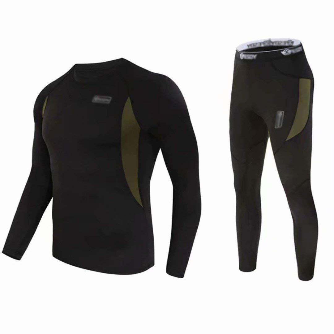 BLF - Set di biancheria intima termica da uomo Winter Suit Ski maniche lunghe maglia e mutandoni, nero, XL