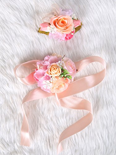 Wedding Prom Wrist Corsage Silk rose and Boutonniere Set Pin Ribbon Included (Pretty old rose theme)