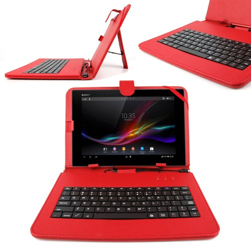 DURAGADGET Red Faux Leather Case Cover With Micro USB Keyboard For Nokia Lumia 2520, Ampe A10 Quad Core Version 10.1-Inch IPS Android 4.0.4 (Ice Cream Sandwich) Dual Camera Epad Apad ()