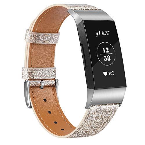 Vancle Compatibel met Fitbit Charge 4 armband Fitbit Charge 3 armband, lederen armband, roestvrij stalen gesp…