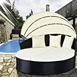 TANGKULA Patio Furniture Outdoor Lawn Backyard Poolside Garden Round with Retractable Canopy Wicker Rattan Round Daybed, Seating Separates Cushioned Seats (without table round bed)