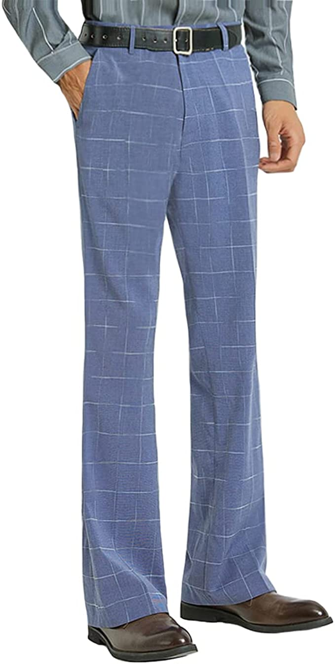 70s Costumes: Disco Costumes, Hippie Outfits HAORUN Men Plaid Bell Bottom Pants Slim Fit Stretch Retro 60s 70s Casual Flared Trousers  AT vintagedancer.com