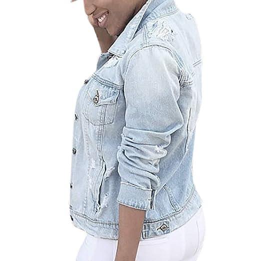 6ea04c8f82822 Greatgiftlist Womens Blue Distressed Button Long Sleeve Denim Jean ...