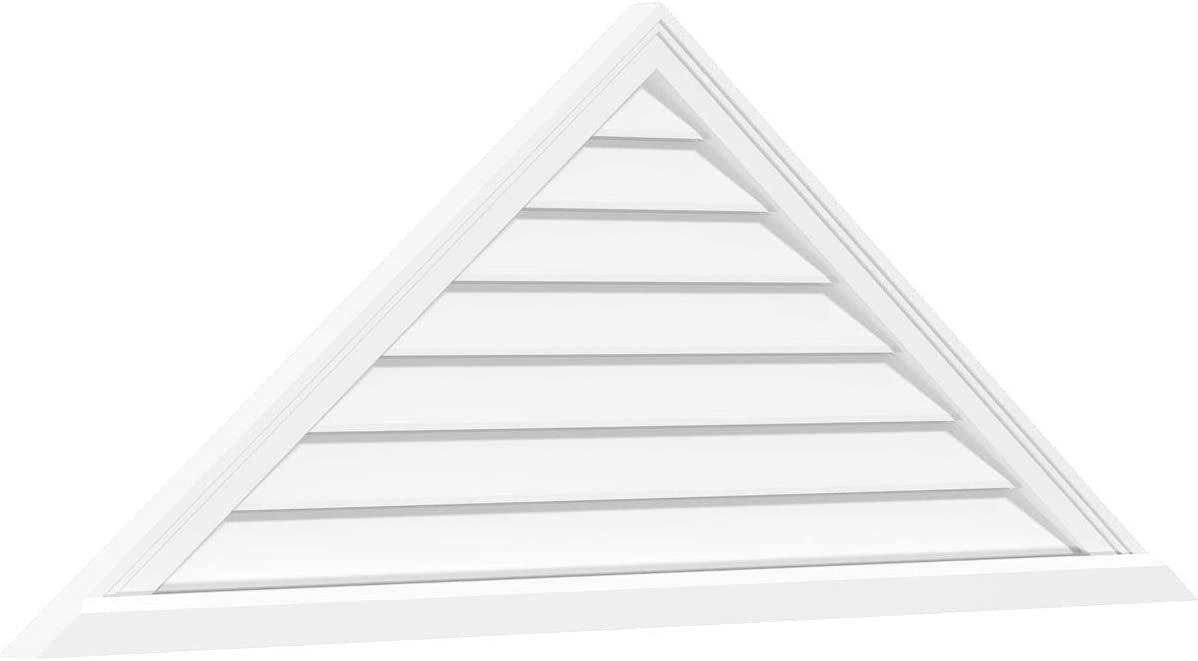 Ekena Millwork Gvptr40x1303sf Triangle Surface Mount Pvc Gable Vent Pitch 8 12 40 W X 13 375 H Inch Factory Primed White Home Improvement