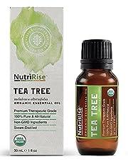 NutriRise USDA Certified Organic Tea Tree Essential Oil - Premium Therapeutic Grade - 30 mL