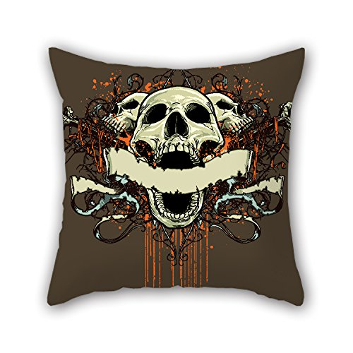 PILLO Skull Cushion Covers 20 X 20 Inches / 50 By 50 Cm Best Choice For Couch,birthday,play Room,adults,valentine,boys With Each Side