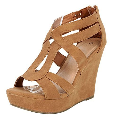 (TOP Moda Women's Strappy Open Toe Platform Wedge TAN 7)