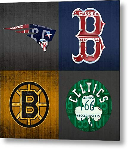 Plates License Recycled - KPSheng Boston Sports Fan Recycled Vintage Massachusetts License Plate Art Patriots Red Sox Bruins Celtics Retro Vintage Metal Tin Sign Wall Plaque - for Cafe Beer Club Wall Home Decor 12x12 Inches