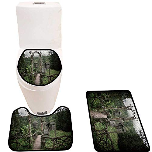 3 Piece Toilet mat Set Medieval Wooden Fortification Sets for Toilet mat