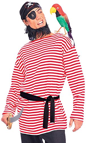 Forum Novelties Men's Pirate Matie Costume Shirt, Red/White, (Red And White Striped Shirt Costume)