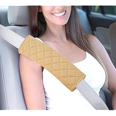 U&M 2pcs Seat Belt Covers, Soft Velvet Feel Car Belt Protector Shoulder Seatbelt Pad for Adults Youth Kids - Car, Truck, SUV, Airplane,Carmera Backpack Straps - by (Beige): Automotive