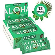 ALOHA Organic Plant Based Protein Bars |Chocolate Mint | 12 Count, 1.9oz Bars | Vegan, Low Sugar, Gluten Free, Paleo, Low Carb, Non-GMO, Stevia Free, Soy Free