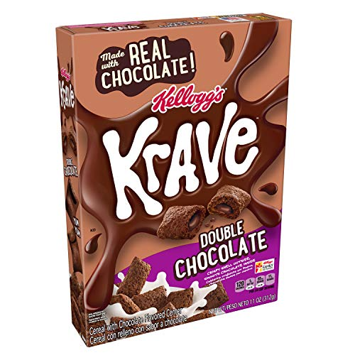 Kellogg's Krave Breakfast Cereal, Double Chocolate, Good Source of Fiber, 11 oz Box(Pack of 10) ()