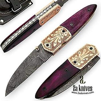 Amazon.com: Cuchillos de 2a hechos a mano de acero Damasco ...