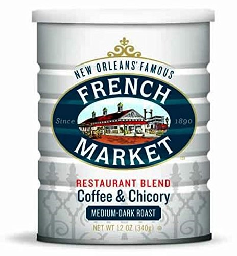 French Market Coffee & Chicory, Restaurant Blend, 12-Ounce Cans (Pack of 3)