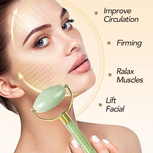 YUDAO Jade Roller For Face & Gua Sha Scraping Tools - Anti Aging Wrinkle, Facial Puffiness Massager Ice Globes, Eye Skin Rejuvenate - 100% Real Natural Premium 2 in1 Jade Stone
