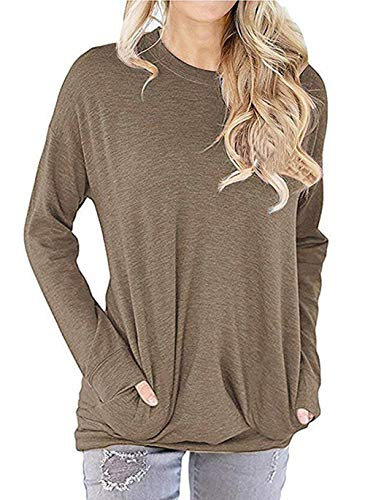 PALINDA Women's Long Sleeve Crewneck Casual Side Split Loose Pullover Tunic Tops (S, Tan)